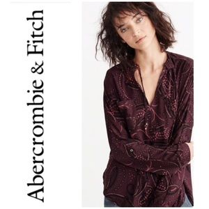 Abercrombie Paisley Burgundy Blouse